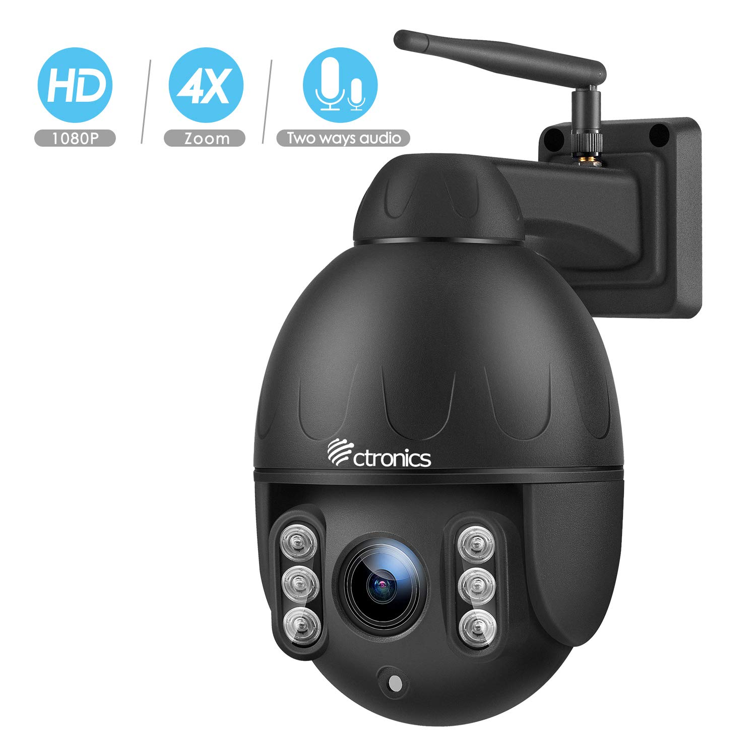Ctronics PTZ Camera Outdoor,1080P WiFi Security IP Camera, 355° Pan 120° Tilt 4X Optical Zoom, Instant Notification of Motion Detection,165ft Night Vision, Black by Ctronics