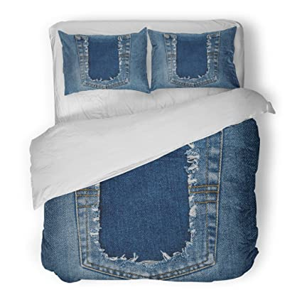 amazon com sanchic duvet cover set aged destroyed torn denim blue