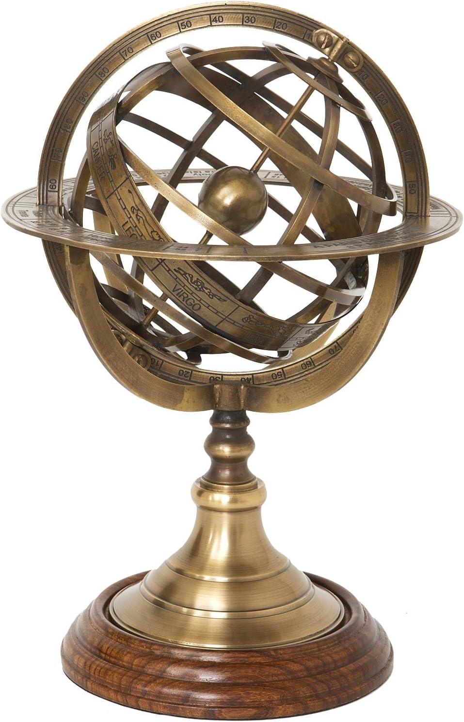 29/cm Sfera Armillare in ottone anticato su base in legno H diametro 18,5/cm