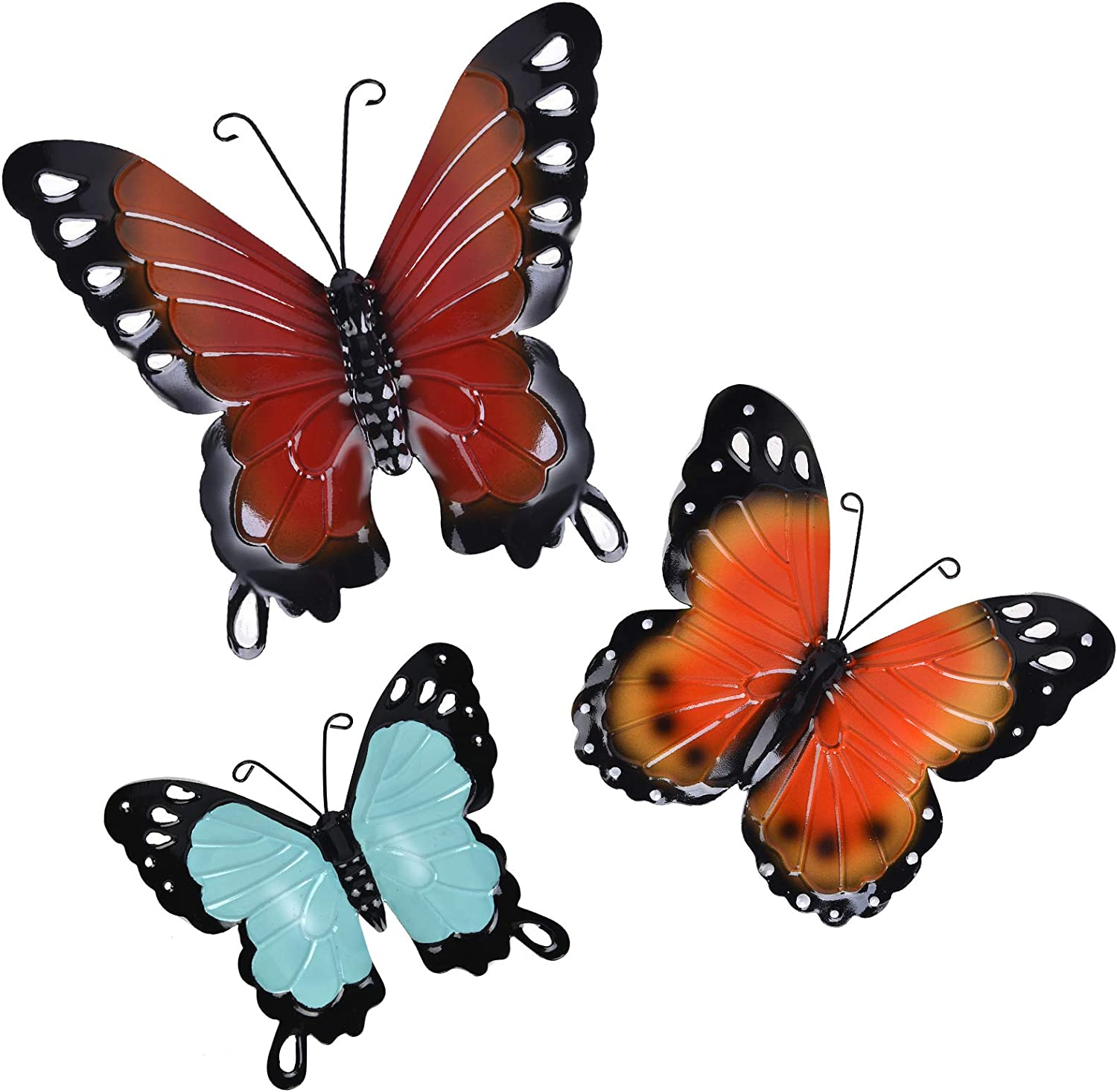 Metal Butterfly Wall Decor Butterfly Wall Art Hanging Sculpture For Indoor Outdoor Home Bathroom Living Room Bedroom Or Porch Patio Fence Yellow Red Blue Set Of 3