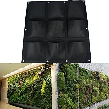 AMARS 9 Pockets Vertical Garden Hanging Wall Planter, Green Field Wall Mounted  Planter Pouch