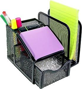 Greenco Mesh Office Supplies Desk Organizer with Note Pad Holder- Black (GRC4778)