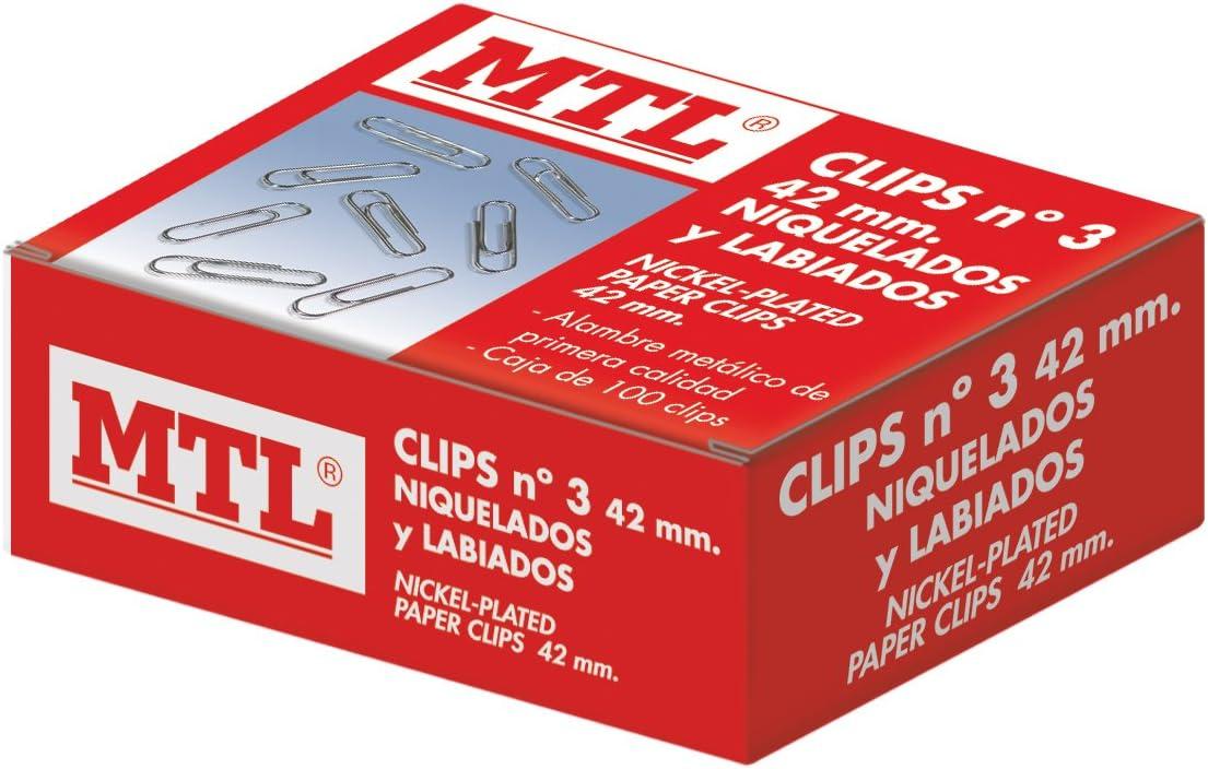 MTL 79202 - Pack de 100 clips niquelados, 42 mm: Amazon.es: Oficina y papelería