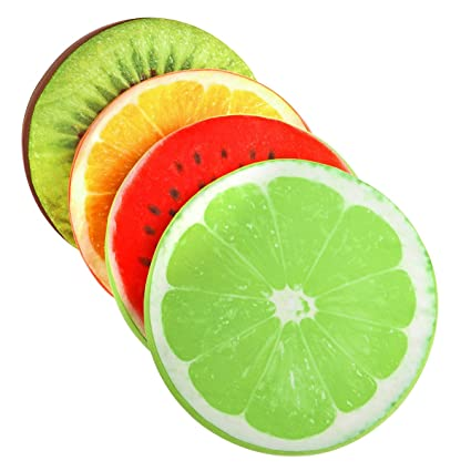 TiooDre Ronda Suave Almohada de Felpa Frutas de lim¨n Asiento coj¨ªn Amortiguador Trasero de sillas de Oficina Patio Inicio (Fruta)