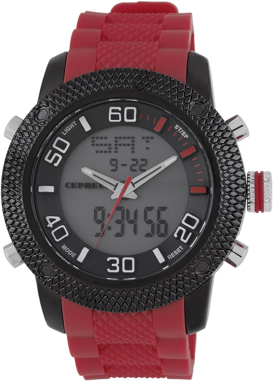 CEPHEUS CP903-624 - Reloj analógico y Digital de Cuarzo para Hombre con Correa de Silicona, Color Rojo
