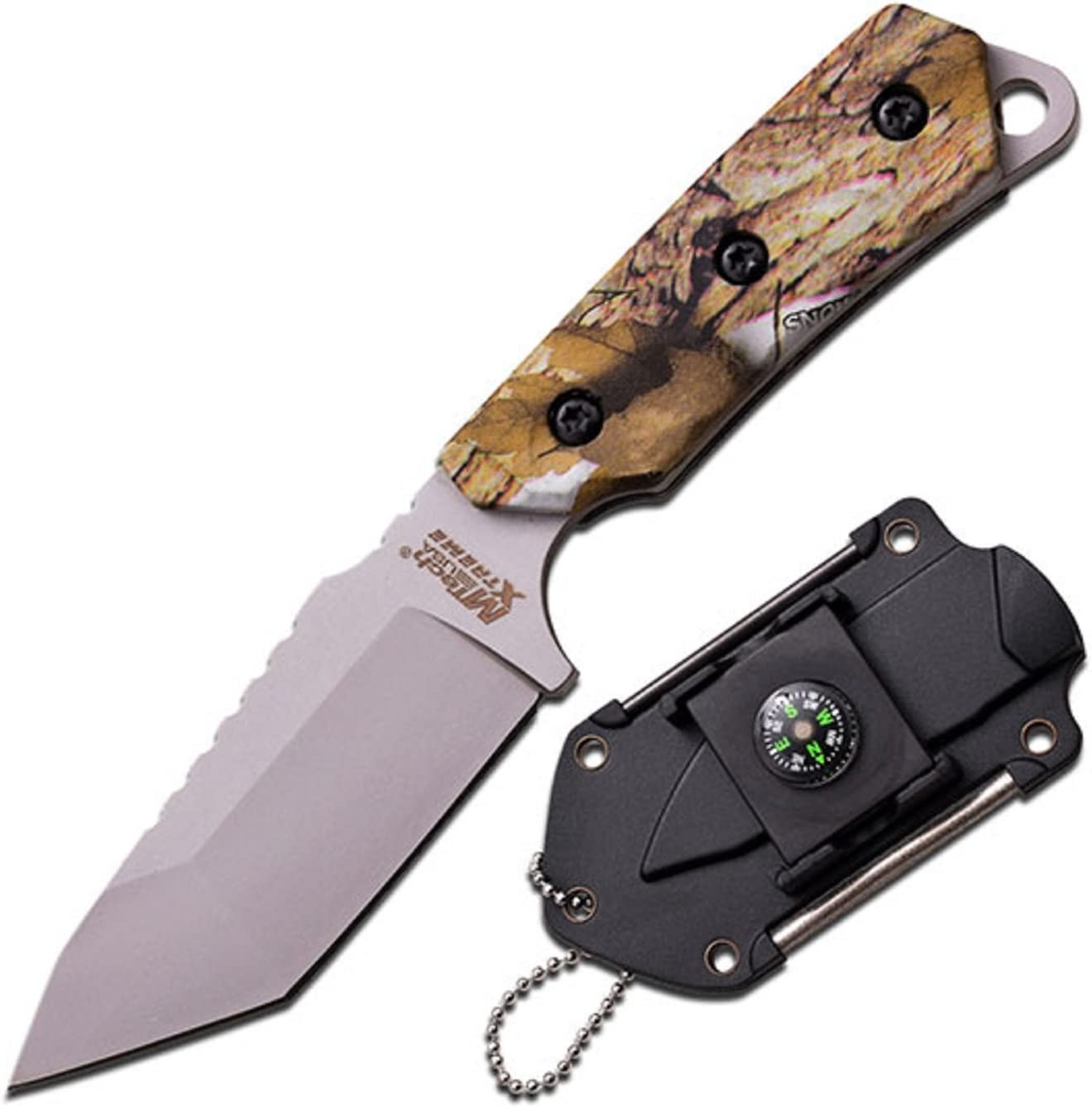 Master Cutlery M-Tech USA Xtreme Neck Knife with Coated G10 Handle, Camo, 5.5