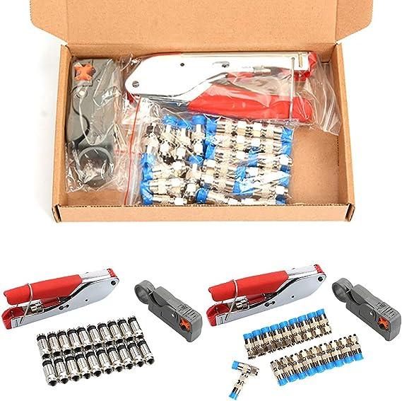 Justdolife Arrugador De Cable Coaxial Herramienta De CompresióN RG59 6F con 20 F Conectores Pelacables: Amazon.es: Hogar