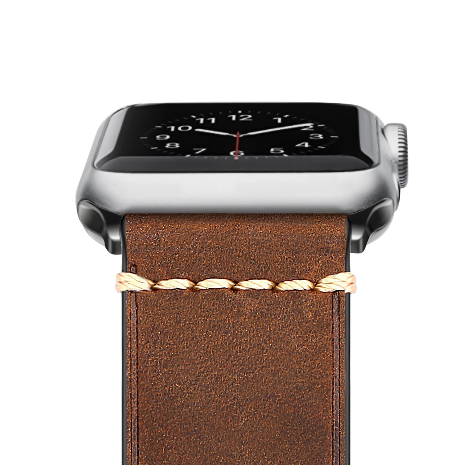 Genuine Leather Watch Strap Band For Apple 42mm Series 3 Fossil Es3954 Tailor Multifunction Light Brown 2 1