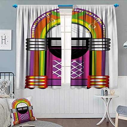 Amazon com: Chaneyhouse Jukebox Window Curtain Drape Cartoon Vivid