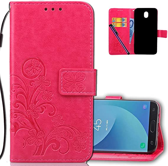 5.2 inch Luck Clover Purple Samsung A5 2017 Wallet Case Leather COTDINFORCA Premium PU Embossed Design Magnetic Closure Protective Cover with Card Slots for Samsung Galaxy A5 2017 SM-A520