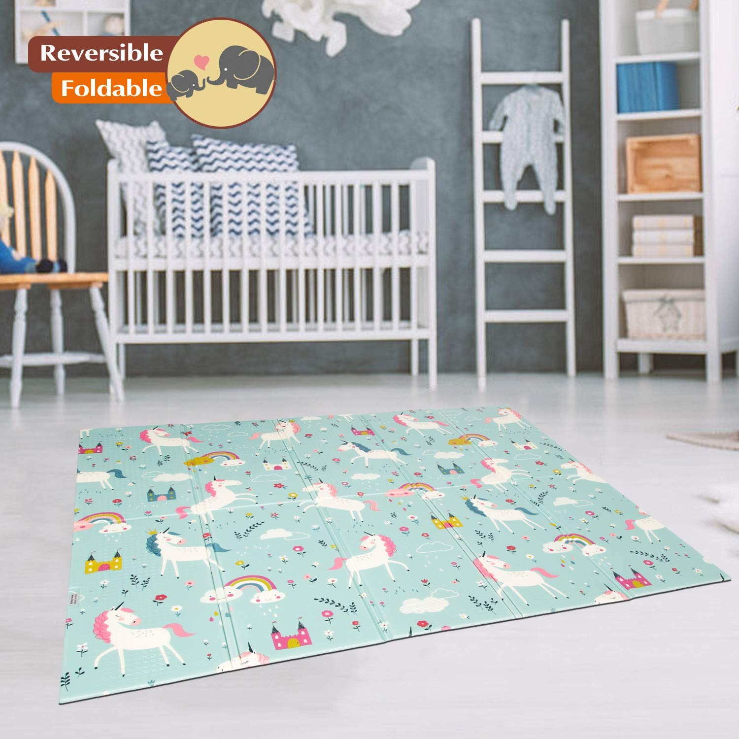 Kinbor Baby Folding Kids Play Mat Reversible XPE Foam Floor Playmat Unisex Playroom and Nursery Mat for Infants Toddlers and Kids 71 59 x 0.4 inch