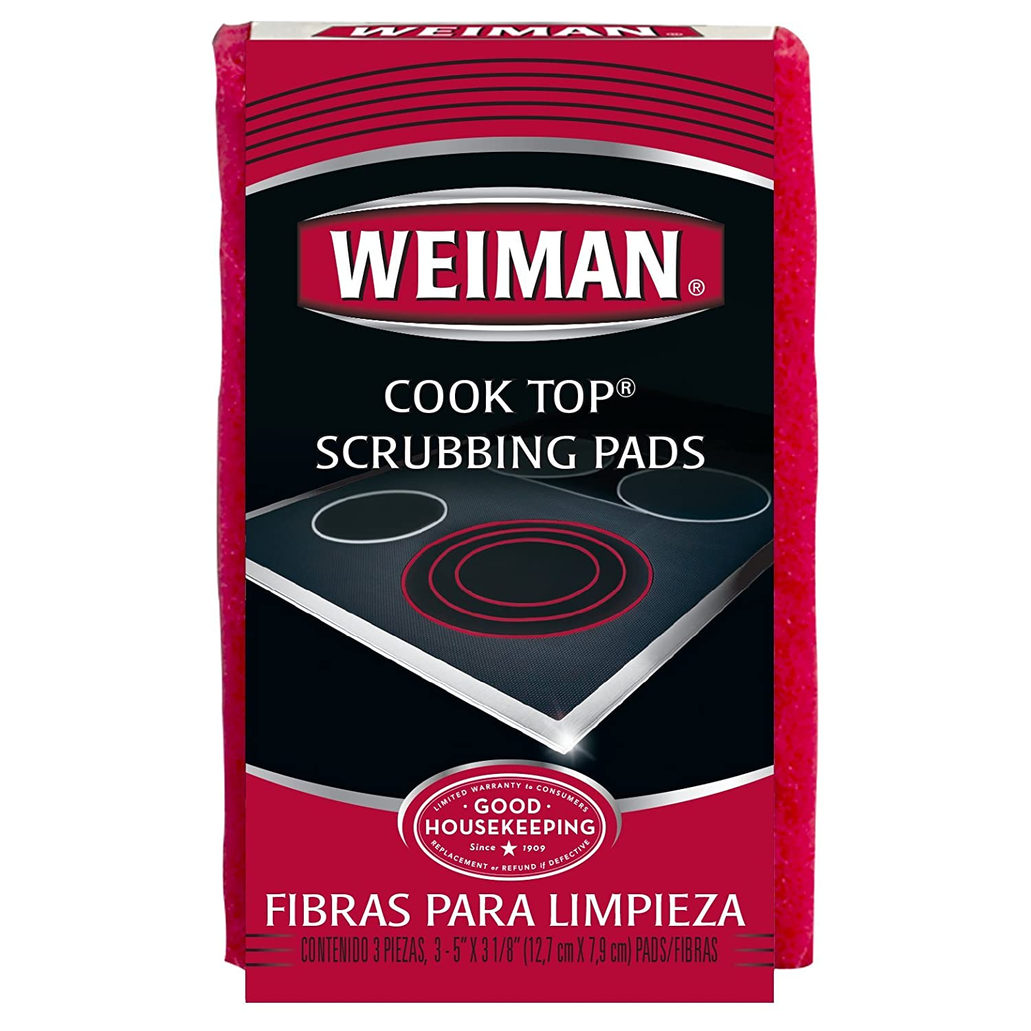 Weiman Cook Top Scrubbing Pads, 3 Count, 2 Pack Cuts Through the Toughest Stains - Scrubbing Pads Carefully Wipe Away Residue WMN-002B
