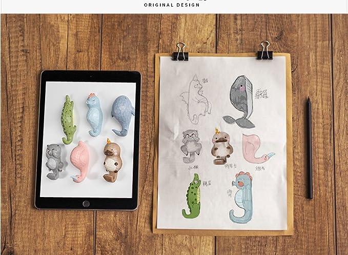 alohha Cartoon Animal Cabeza Individual gancho de pared Hanger forma de animales gorro de abrigo Gancho Heavy Duty rurales de estilo retro de la ...