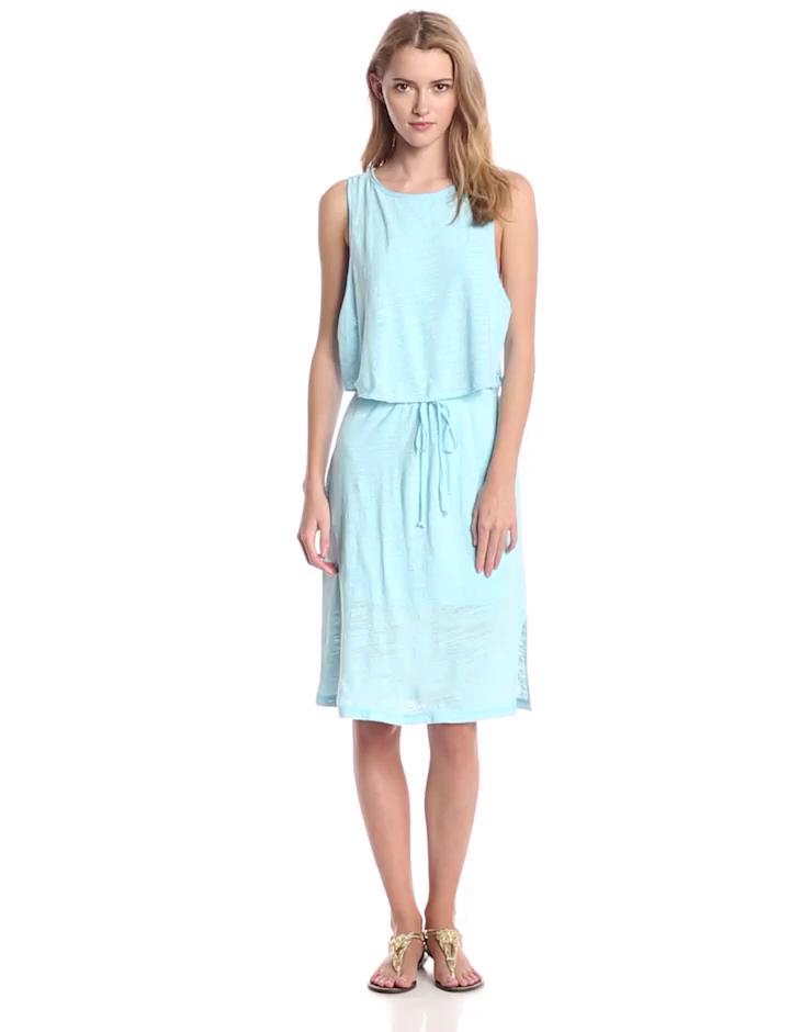 Heather Women's Cotton and Gauze Drawstring Dress, Sky, X-Large