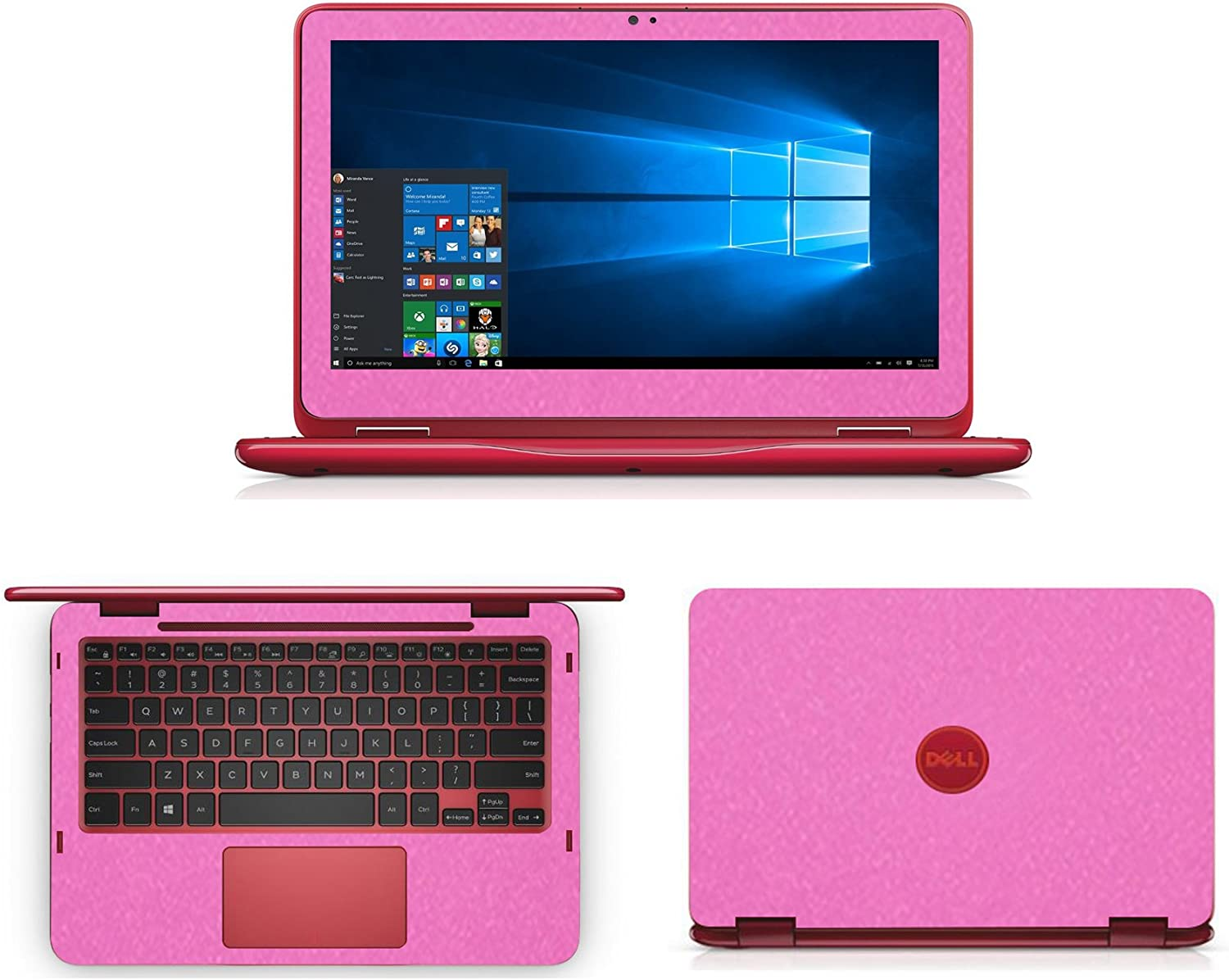 Sparkling Pink Fiber skin decal wrap skin Case for Dell inspiron 11 3000 series 3168 3169 11.6