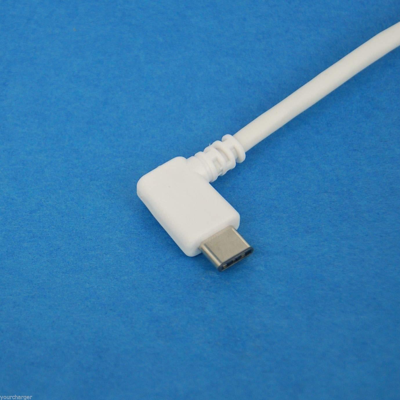FidgetFidget USB Type C L-Shape Cable White 1ft 0.3M
