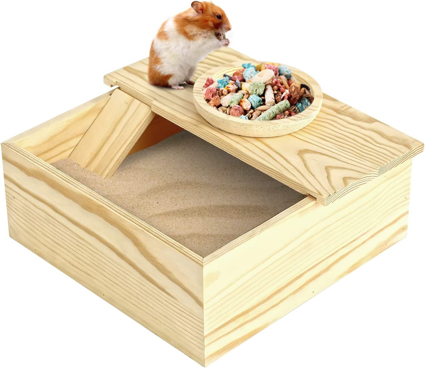 Wooden Small Pets Sand Bath Box with Tiny Pet Bowl- 7.7