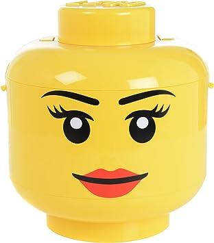 LEGO - Caja de almacenaje, diseño de Cara de Chica, Color Amarillo: Amazon.es: Juguetes y juegos