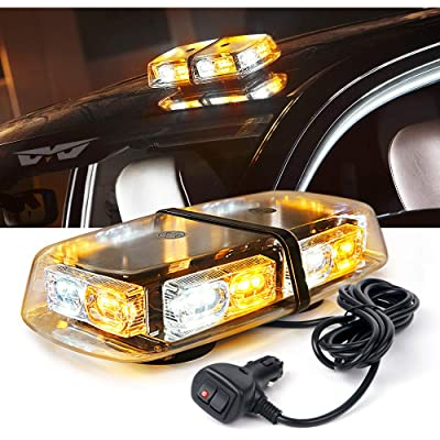 "Lumenix Amber White 36 LED Rooftop Strobe Light Emergency Hazard Warning Safety Beacon Lights 12"" Mini LED Flashing Strobe Light Bar w/Magnetic Base for Snow Plow Postal Car Truck Construction Vehicle: Automotive"