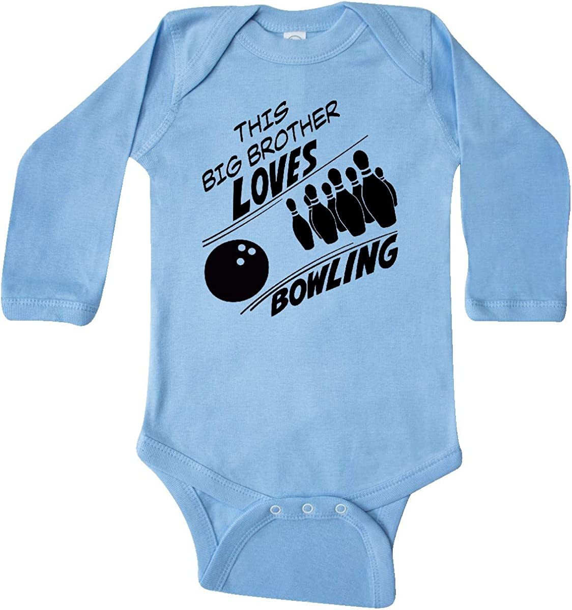 inktastic This Big Brother Loves Bowling Long Sleeve Creeper