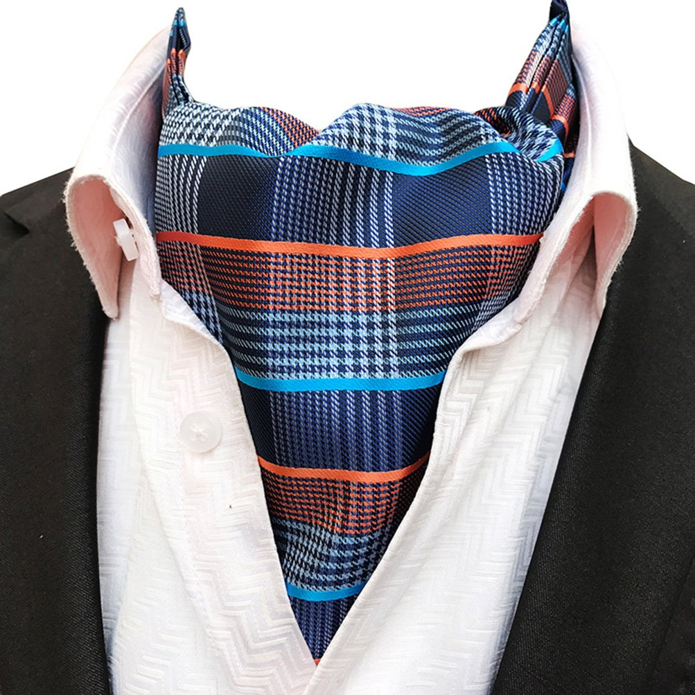 MOHSLEE Men Blue Orange Striped 100% Silk Cravat Tie Wedding Ascot Scarf Nekties Qa405