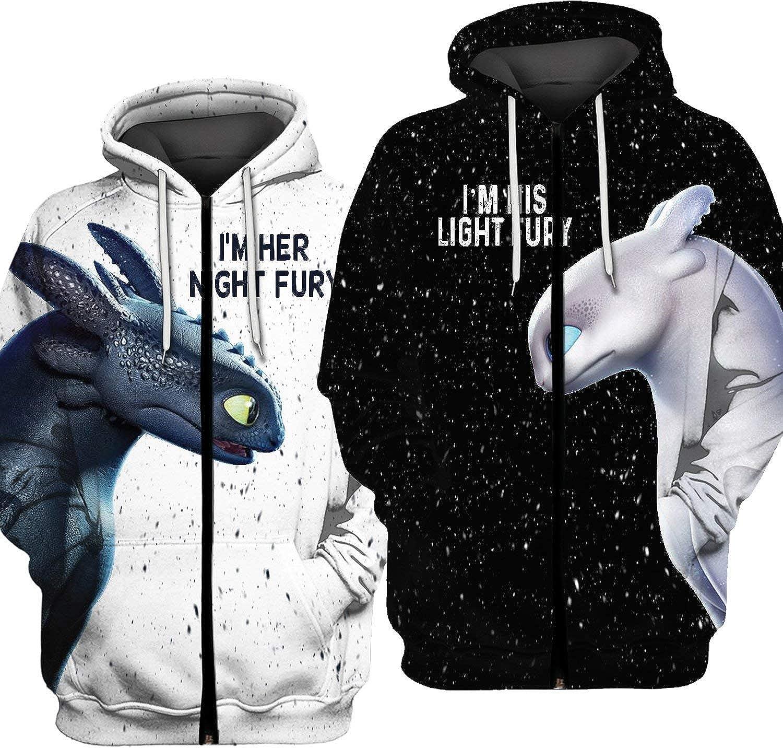 Black, Men 2XL + Women 2XL Couples Night Light Fury How to Train Your Dragon 3D All Over Printing Shirt Sweatshirt