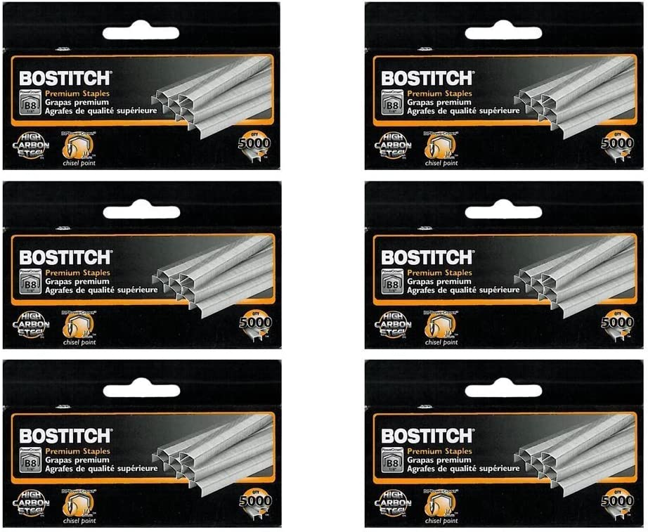 "Value Pack of 6 boxes Stanley Bostitch B8 PowerCrown Premium 1//4/"" Staples"