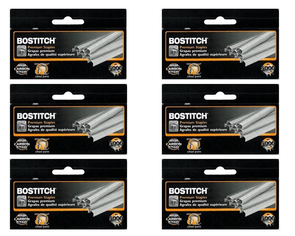 3 x Value Pack of 6 Boxes Stanley Bostitch B8 Powercrown Premium 1/4'' Staples (Stcrp21151/4)