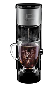 Chefman Instabrew Single Serve Coffee Maker, Compatible with K-Cups, Coffee Grounds and Loose Leaf Tea w/Reusable Filter Included, Compact, Black/Stainless Steel