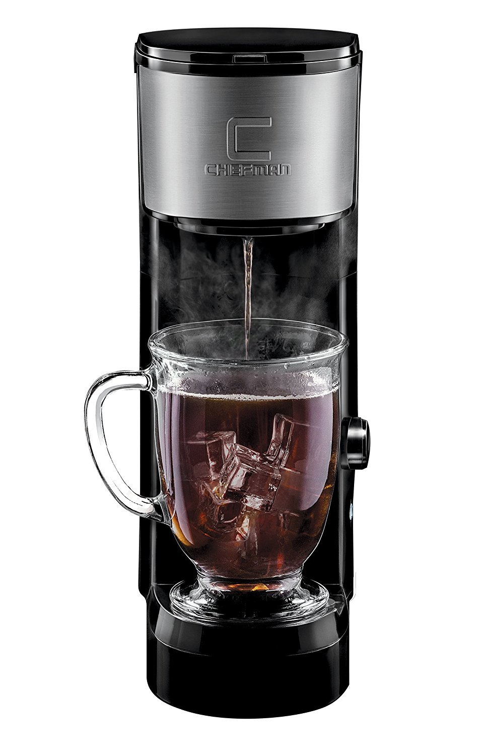 Chefman RJ14-SKG-IR Maker K-Cup Instabrew Brewer-Free Filter Included for Use with Coffee Grounds Small Footprint Single Serve-Mug, Instant Reboil, Black