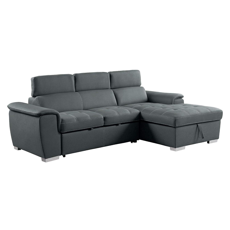 Amazon.com: Homelegance 8228 Sleeper Sectional Sofa with Storage ...