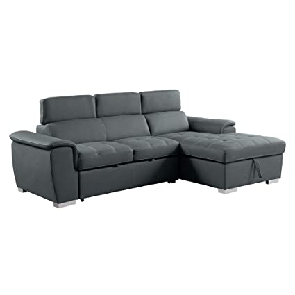 Amazon.com: Homelegance 8228 Sleeper Sectional Sofa with Storage ...