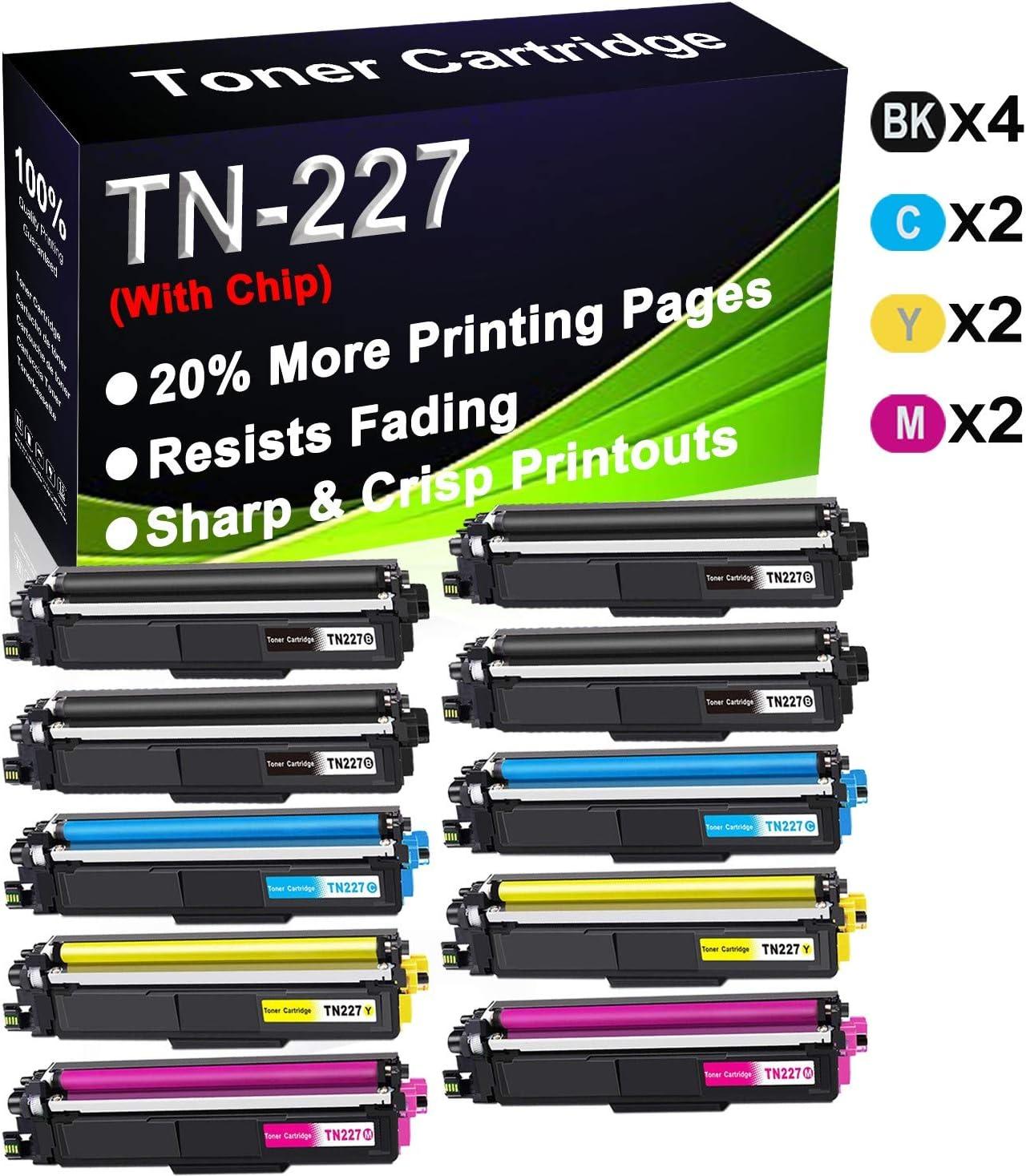 (Con chip) 10 unidades (4BK+2C+2Y+2M) compatibles con TN227 (TN-227BK TN-227C TN-227Y TN-227M) Cartucho de tóner para impresoras Brother HL-L3210CW HL-L3230CDN HL-L3230CDW HL-L3230CDW