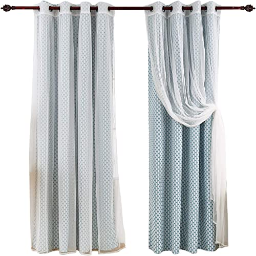 Deconovo Mix and Match Set Tulle White Sheer Teal Moroccan Print Thermal Insulated Blackout Curtains for Living Room, 52×63 Inch
