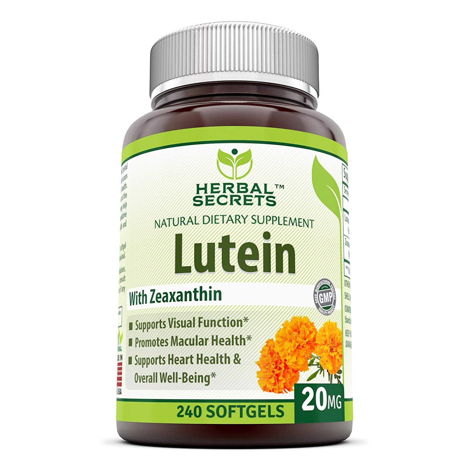 Herbal Secrets Lutein with Zeaxanthin 20 Mg 240 Softgels (Non-GMO) - Supports Heart Health and Well Being* Support Visual Function* Promotes Macular Health* by Herbal Secrets