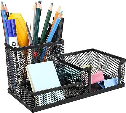 Powcan Organizador de escritorio, Organizador de malla metálica ...