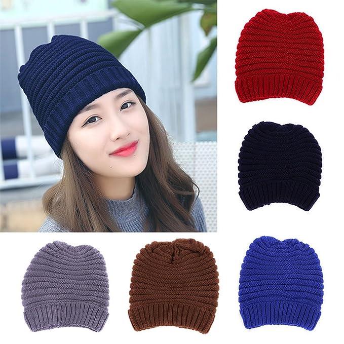 194136947d0 BIBITIME Women Hooded Cap Knitted Skullies Beanies Hat for Winter Outdoor  Sports (Head circumference 15.74 quot