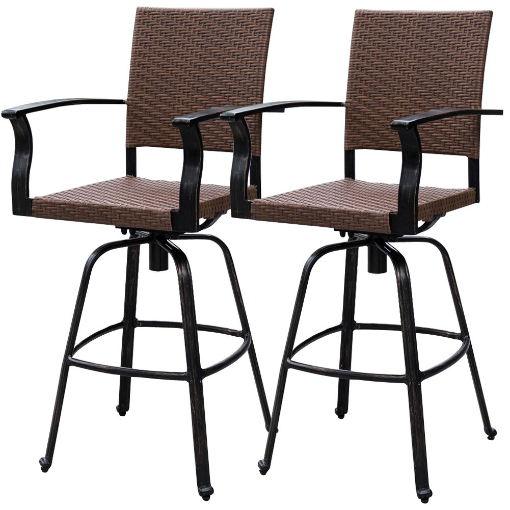 Sundale Outdoor 2 Pcs Brown Wicker Bar Height Swivel Bar Stool All Weather Patio Furniture Set with Aluminum Frame