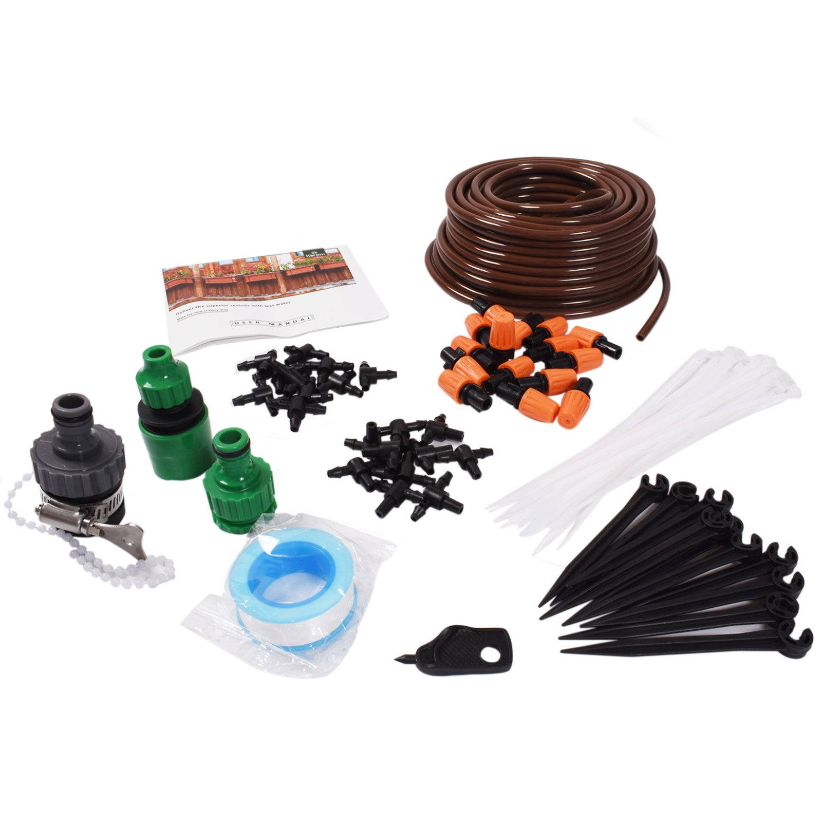 """KORAM Patio Plant Watering Kit 50ft 1/4"""" Blank Distribution Tubing Spray Misters Watering System Kits Accessories for Patio Garden Greenhouse Nozzles Misting Cooling - IR001"""