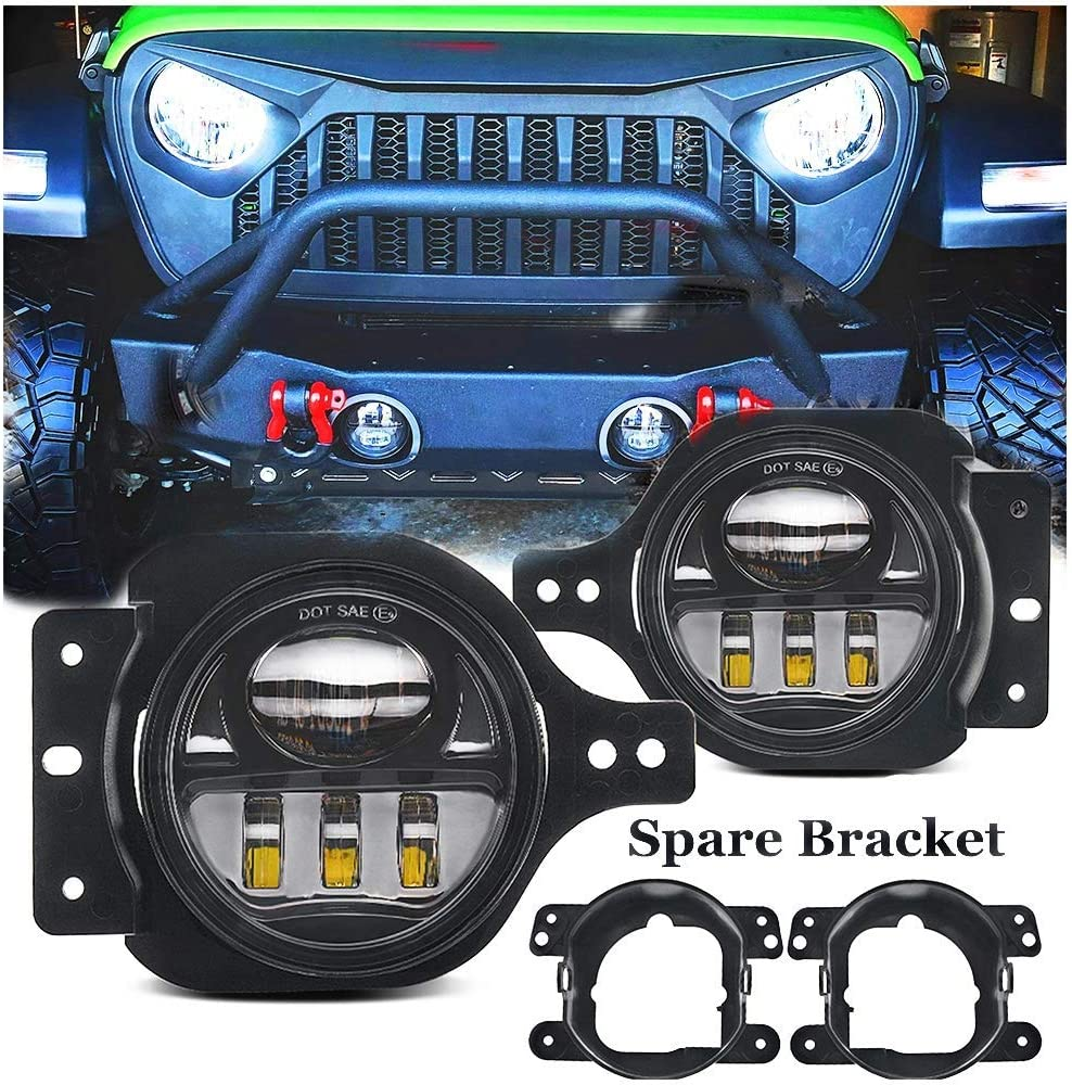 Jeep Wrangler Fog Lights >> 4 Inch Round Led Fog Light For Jeep Wrangler Jl Jlu With 2 Bracket 2018 2019