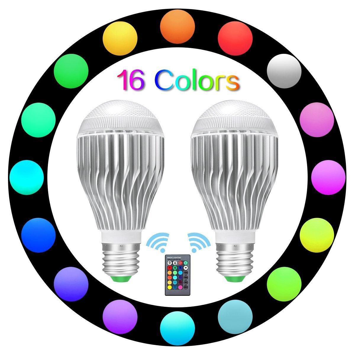 tenlion e26 LEDライト電球、10 W RGB調光機能付きLEDライトの色変更電球withリモートコントローラの装飾照明、ムード照明など。 – パックof 2 B07DWWXPGX