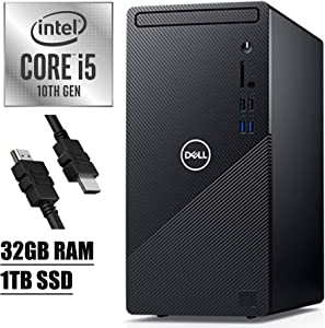 2020 Flagship Dell Inspiron 3000 3880 Desktop Computer 10th Gen Intel Hexa-Core i5-10400 (Beats i7-7700) up to 4.30 GHz 32GB RAM 1TB SSD with Mouse and Keyboard WiFi Win 10 + iCarp HDMI