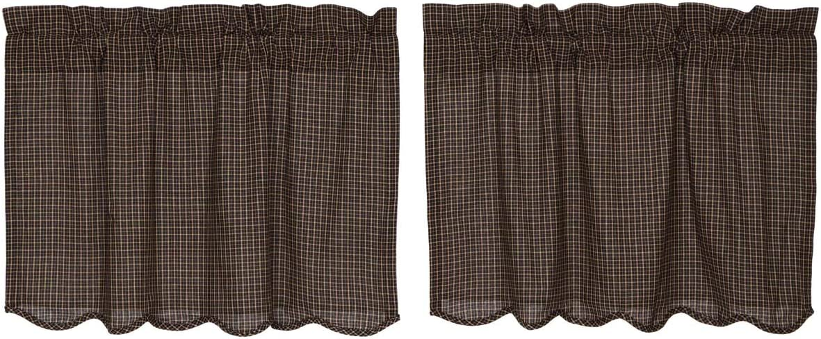 VHC Brands Kettle Grove Plaid Tier Scalloped Set of 2 L24xW36 Country Curtains