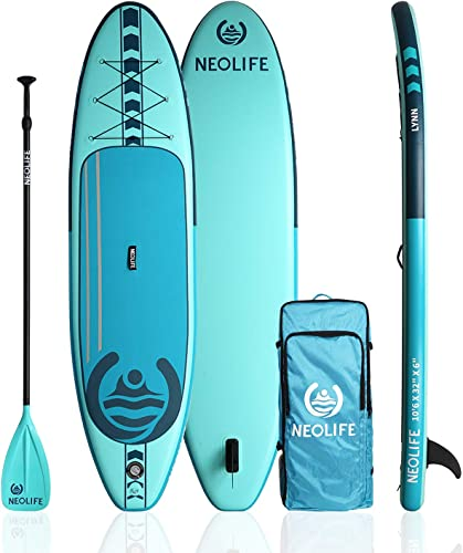 Neolife Inflatable Stand Up Paddle Boards, 10 6 x 32 x 6 with ISUP Travel Package Waterproof, 3 Piece Adjustable SUP Paddle and Hand Pump, Non-Slip Deck Standing Boat for Youth and Adult Teal