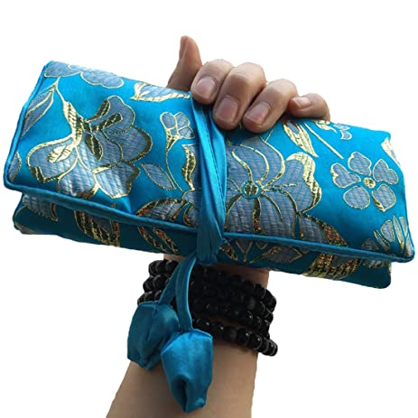 Amazoncom WEI LONGJewelry Roll Travel Jewelry Roll BagSilk