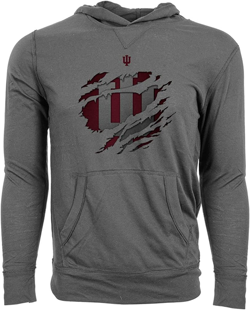 X-Large Steel Grey Levelwear NCAA Indiana Hoosiers Adult Men Ripped Armstrong Hoodie