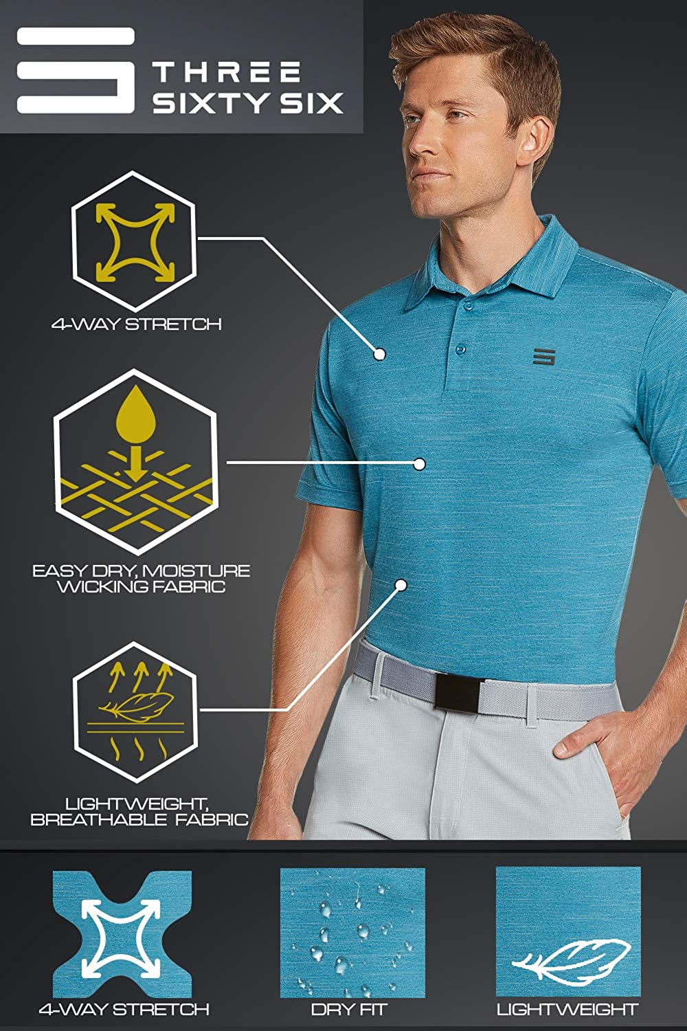 Three Sixty Six Golf Shirts for Men - Dry Fit Short-Sleeve Polo, Athletic Casual Collared T-Shirt : Clothing