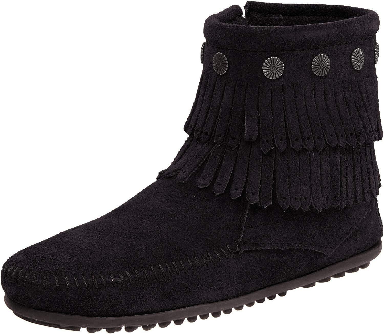Minnetonka Women's Double-Fringe Side-Zip Boot