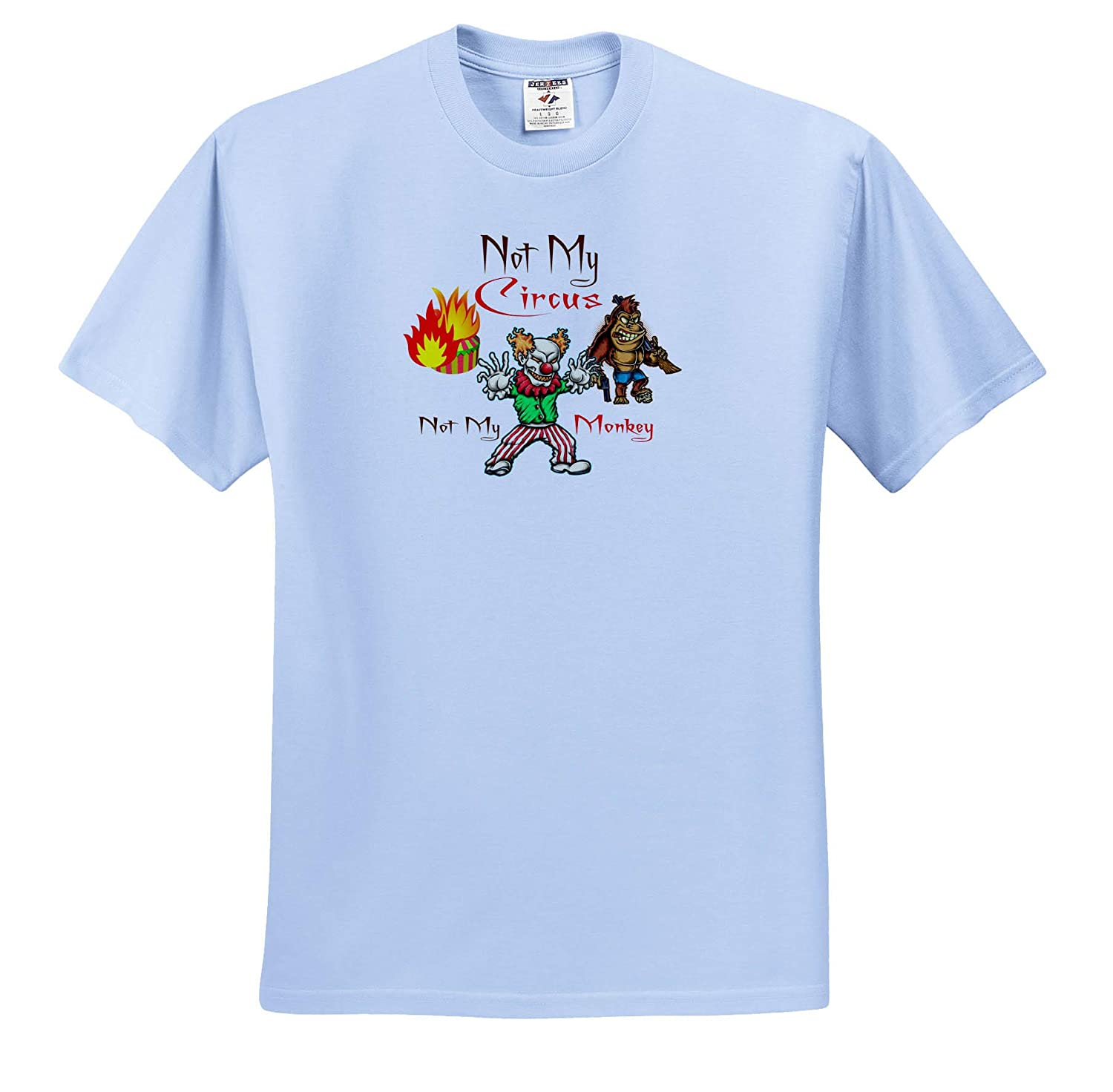 Funny Tent on fire 3dRose Alexis Design T-Shirts Not My Circus Evil Clown not My Monkey Killer Monkey