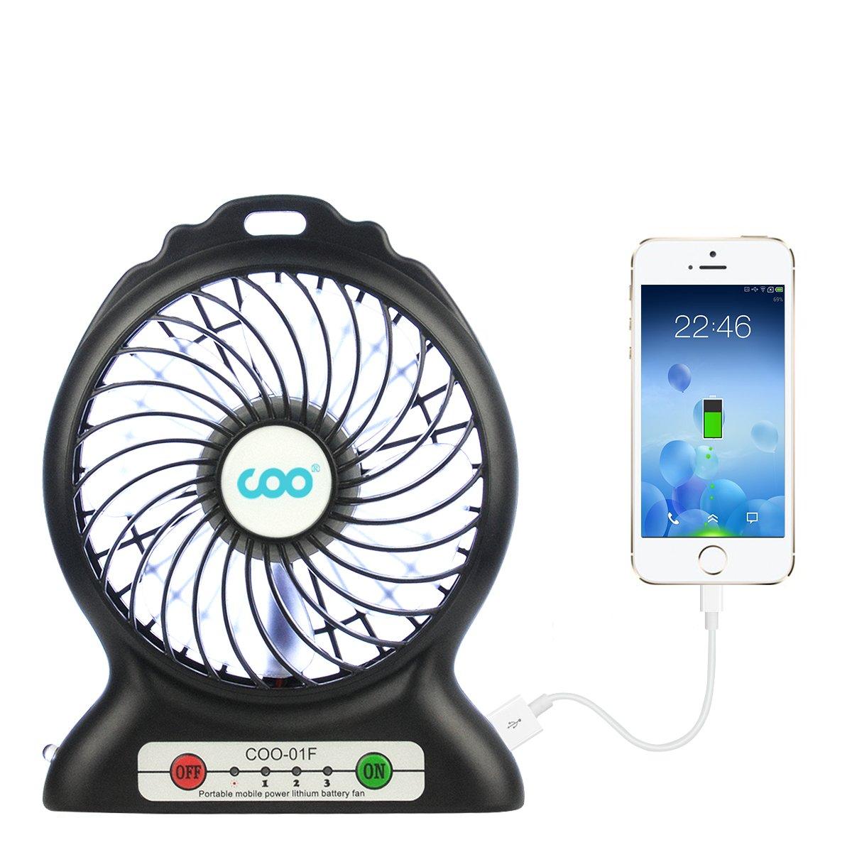 Ventilatore Portatile Personale Fan a 3 velocit/à con Base e Batteria Ricaricabile USB 2600mAh per Ufficio Outdoor Sport Viaggio in Famiglia Campeggio Blu COO Mini Ventilatore Palmare USB
